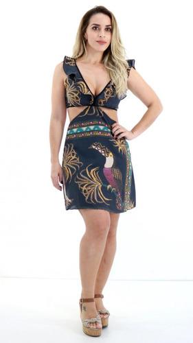 b61752137b Vestido Morena Rosa Decotado Preto Estampada Tropical P18