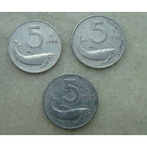 1831 - Italia 3 Moedas,5 Lire - Alum 20mm, 1954,1953