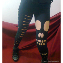 Calça Legging Rasgadas Caveira Skull Rock Punk Gotico