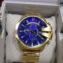 Relógio Diesel Dourado Ouro Gold Fundo Azul Sedex Grátis