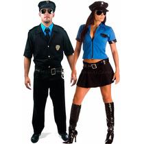 Fantasia De Casal Policial Masculino E Feminino C/ Quepe