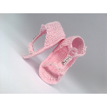 A116 Sapatinho De Croche Bebe Sandalia Menina Varias Cores