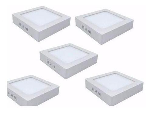 Kit 5 Painel Plafon Quadrad Luminária Sobrepor Led 25w Frio