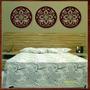 Trio Quadros Decorativo Esculturas Parede Mdf Mandalas 50 Cm