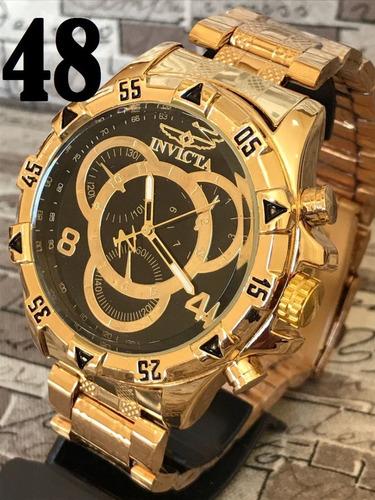 fa95f80e943 Relógio Masculino Prata E Dourado Barato Pesado Aço