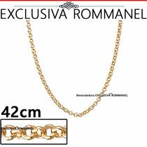 Rommanel Corrente Elo Portugues 42cm Folhead Ouro 18k 530609