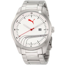 Relógio Puma Masc.white Striped Metal Inox - Pu102531005 New