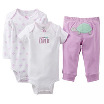 Bore Infantil Bebê Menina Carters 12 M - 3 Pçs