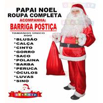 Fantasia Papai Noel Extra Grande + Acessórios + Barriga Luxo