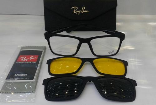 1fa70085e803a Armação Oculos Grau Sol Masculino Rb2088 2 Clip On Original - R  120 ...