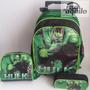 Kit Mochila Hulk Super Herois Vingadores Rodinhas Lancheira