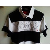 Camisa Polo Res...marca Famosa Em Listras Preta E Branca