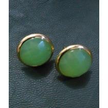 Brinco Folheado Ouro 18k Pedra Fria Verde