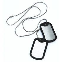 Dog Tags Personalizadas Inox Com Borrachas + Correntes Inox