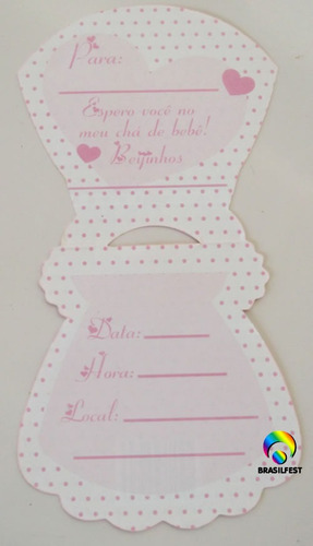 Convite Cha Bebe Vestido Rosamarrom 10 Convites Mostra Fácil