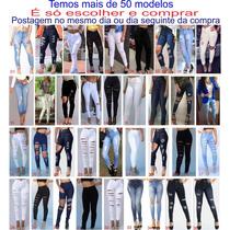 238301fa5 Roupas Feminina Calça Jeans Rasgada Cintura Alta Dins Lycra à venda ...