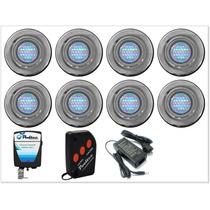 Kit Iluminação Para Piscina 8 Refletores 25 Leds + Comando