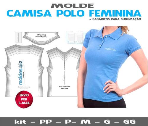 82296669f7 Molde Camisa Polo Feminina + Curso Corte E Costura