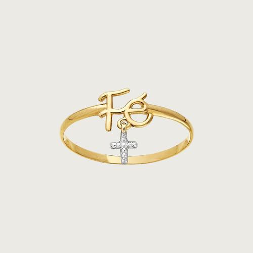 Anel Fé Em Ouro 18k ( 750 ) Com Crucifixo Em Zircônias