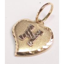 Feliz Jóias - Letra H Em Lindo Pingente Coração De Ouro