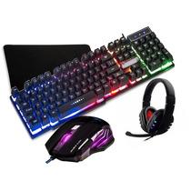Kit Gamer Teclado Semi Mecânico + Mouse 7d + Headset + Mpad