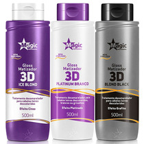 Kit 3 Magic Color 500ml - Ice Blond + Platinum + Blond Black