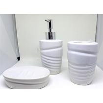 Jogo De Banheiro Lavabo De Porcelana Completo Saboneteira Es