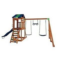 Playground Feito Em Madeira C/ Escorregador E Balanços