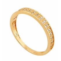 Meia Aliança Dupla Quadrada Em Ouro 18k Com Diamantes- 3221m