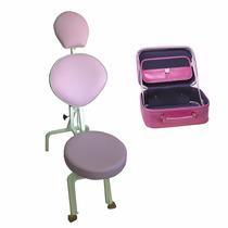 Cadeira De Maquiagem Portátil + Maleta/ Frasqueira Estética