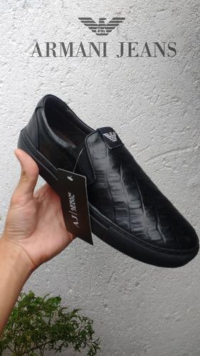 e76813660 Tênis Sapatênis Slip On Masculino Armani Jeans