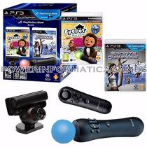 Kit Move Completo Câmera + 2 Controles + 2 Jogos Playstation