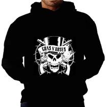Blusa Moletom Guns Roses Capuz Bolso Bandas Camisa Inverno