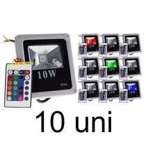 Kit 10 Refletor Holofote Led 10w Rgb Slim - Frete Grátis