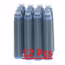12x Carga Cartucho P/ Caneta Tinteiro Azul Frete Gratis