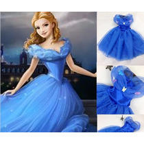 Vestido Infantil Festa Azul Princesa Cinderela