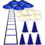 10 Pratos Chinês 05 Cones 20cm 01 Escada De Agilidade 11 Deg