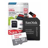 Cartão Sd 64gb Sandisk Classe 10 Ultra + Adaptador Pendrive