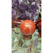 Esfera/ Bola De Pedra Jaspe Vermelho C/suporte - 3,5cm