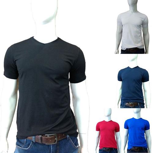Camisa Camiseta Blusa Masculina Gola V Lisa Algodão Básica b6d9c3c427f
