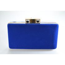 Bolsa Carteira Cluth Feminina De Veludo Azul Royal
