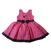 Vestido Festa Minnie Rosa Pink/preto 1 A 4 Anos