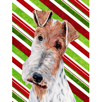 Fox Terrier Do Bastão De Doces Do Natal Da Bandeira Jardim