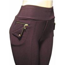 Calça Legging Em Gorgurão Com Lindo Detalhe Em Ziper Novo