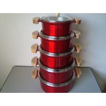 Jogo 5 Uni Panela Em Aluminio Fundido Grosso Colorida M Luxo