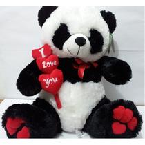 Urso De Pelúcia Panda Gigante Coração 50cm! Pronta Entrega!