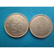 2 Moedas Espanha 50 Pesetas 1975 E 1982 Bonitas Niquel