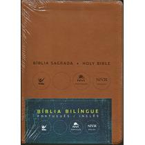 Bíblia Nvi Bilíngue Português - Inglês [luxo Marrom]