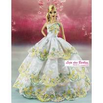 Vestido De Luxo Gala Noiva P/ Boneca Barbie + Par De Sapatos