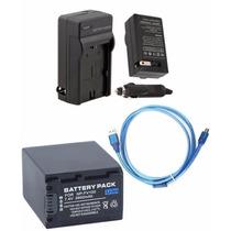 Kit Bateria Np-fv100 + Carregador + Cabo Usb P Sony Dcr-sr21